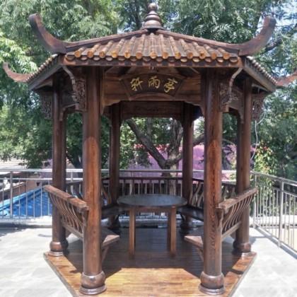 户外六角凉亭碳化木庭院设计防腐木松木实木公园私人定制