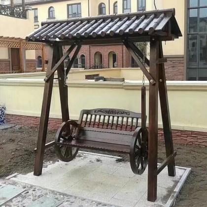 秋千摇椅吊兰户外碳化木防腐松木小院里放的阳台露台实木带顶双人