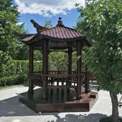 飞檐六角凉亭庭院设计户外防腐木亭子实木碳化木户外家具