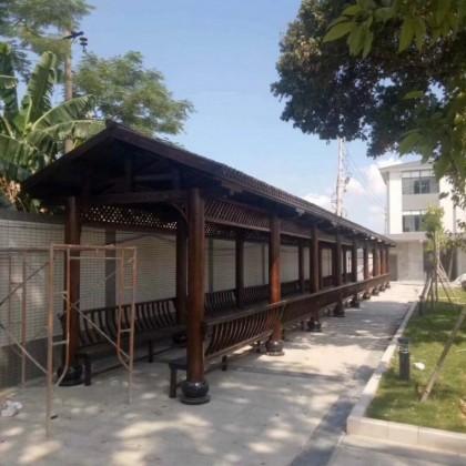 长廊廊架葡萄架亭子带顶户外防腐木碳化木