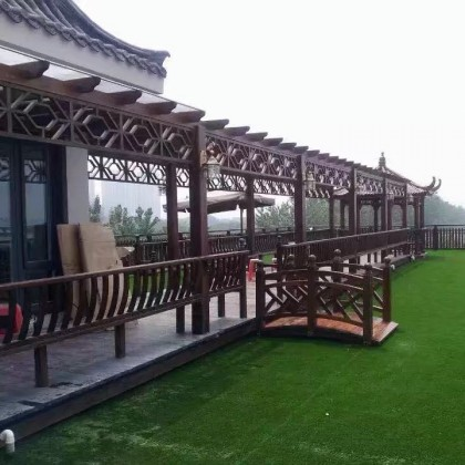 碳化木长廊葡萄架凉亭防腐木简易方柱实木古桥厂家直销