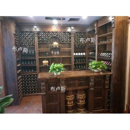 私人订制酒柜 地下室酒窖红酒庄园店铺柜台 进口碳烧木