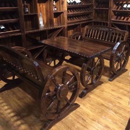 碳化木车轮桌椅双人桌椅户外室外休闲桌