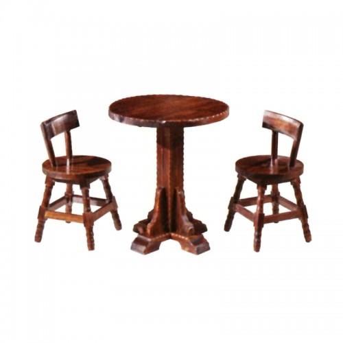 布卢斯户外桌椅休闲碳烧木花边圆形桌椅组合BLS-10花边圆茶几