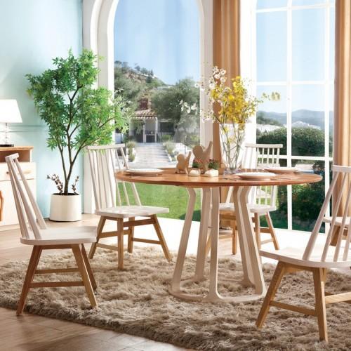 时尚北欧纯实木圆餐桌原木色大圆餐桌实木餐边柜_奥芬达-151  B01餐边柜  B09圆餐台