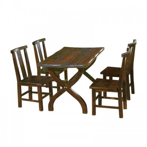 时尚简约休闲碳烧木桌椅组合BLS-7