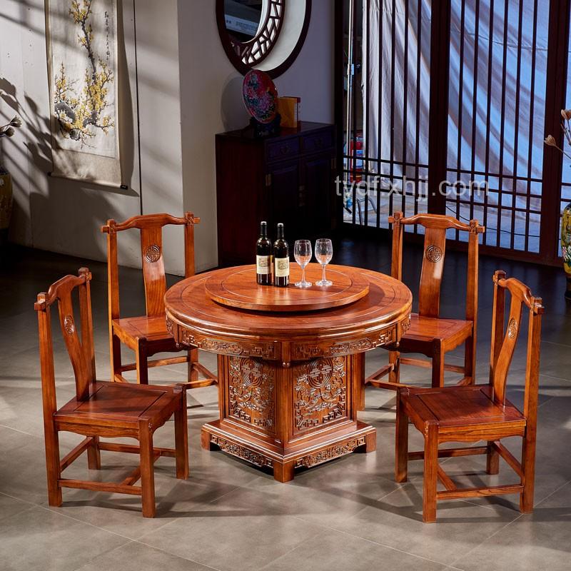 榆木餐桌圆形雕花带转盘仿古餐桌椅组合02