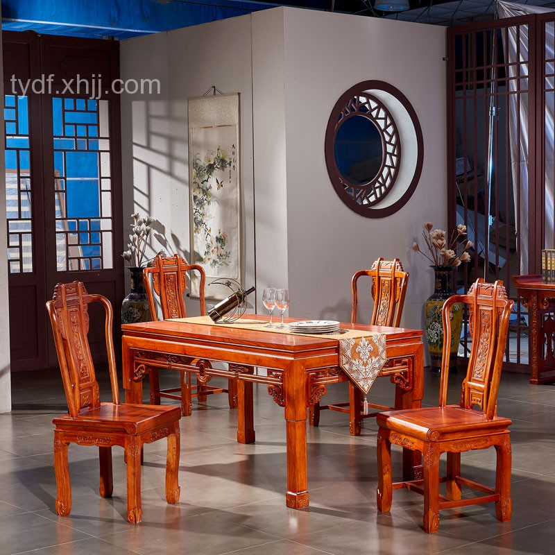 仿古新中式榆木长方形餐桌椅组合04
