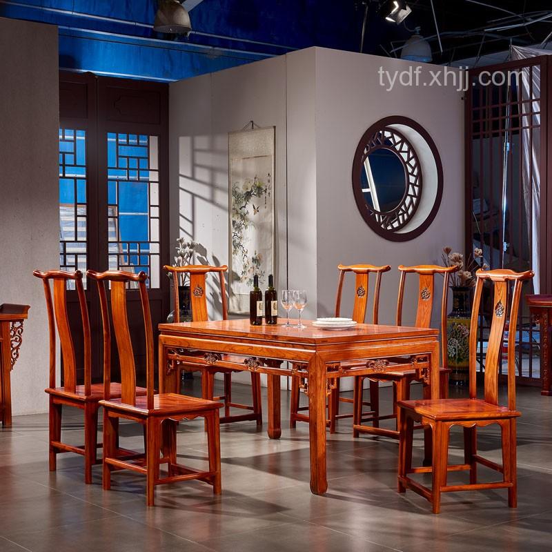 仿古新中式榆木长方形餐桌高背餐椅组合05