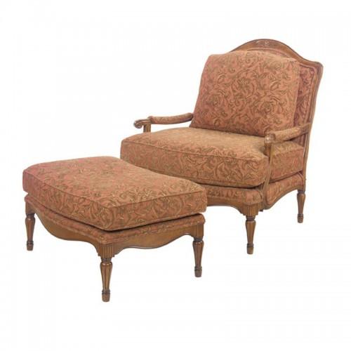 实木扶手单人沙发布艺沙发带脚凳43