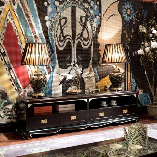 古典新中式客厅实木香槟银带抽电视柜 08