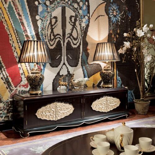 中式现代简约轻奢客厅描金地柜装饰柜电视柜09