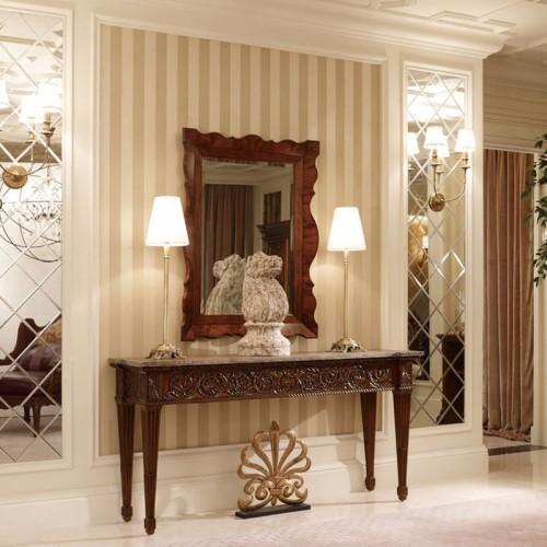 美式古典雕花门厅条桌玄关装饰镜38