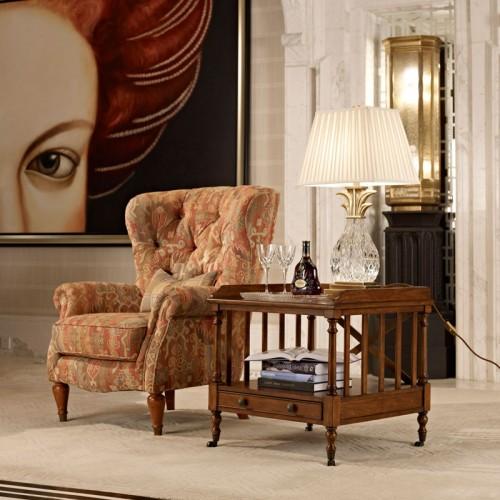美式古典实木沙发椅边几组合39