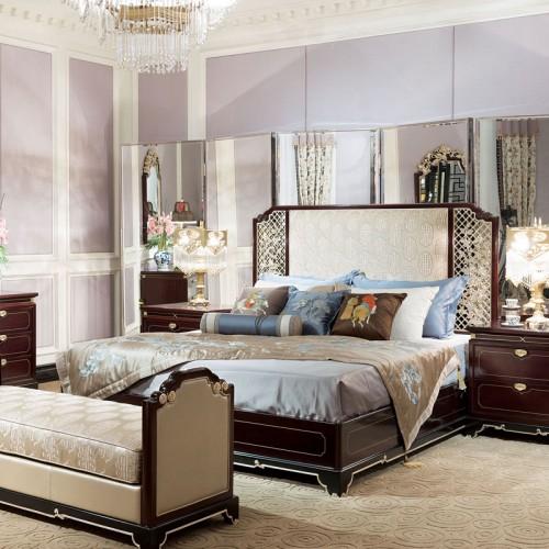 新中式卧室实木雕花双人床配套定制家具 05