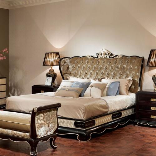 古典实木双人床奢华布艺拉扣床配套定制家具 06