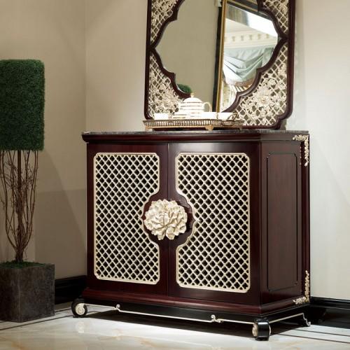 古典实木玄关柜中式对开门鞋柜玄关镜 12