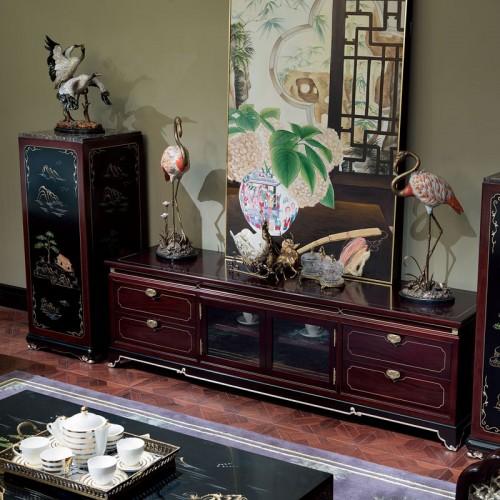 新中式实木电视柜古典地柜储物柜13