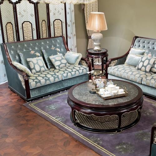新中式古典实木雕花拉扣布艺组合沙发茶几16