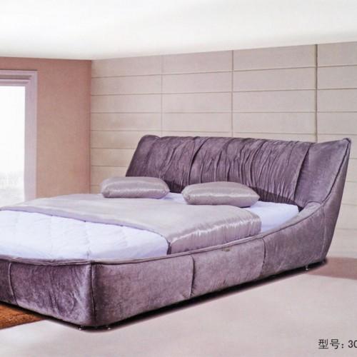 时尚布艺软包床简约卧室双人床    3011