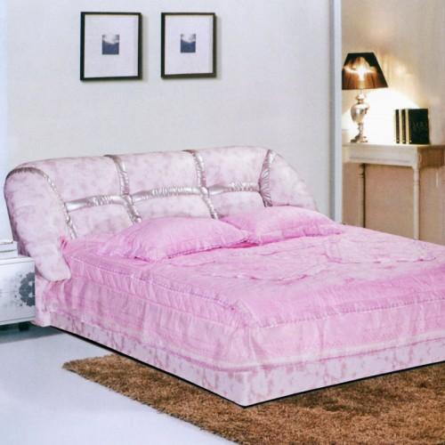 现代时尚粉色布艺软包床卧室双人床   621