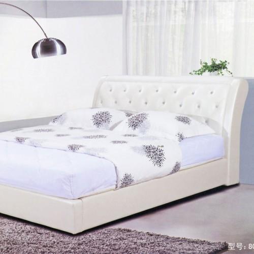 北欧皮艺床可拆洗小户型简约现代双人床软床    803