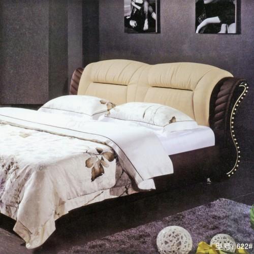 现代卧室软包双人床简约时尚真皮床   622