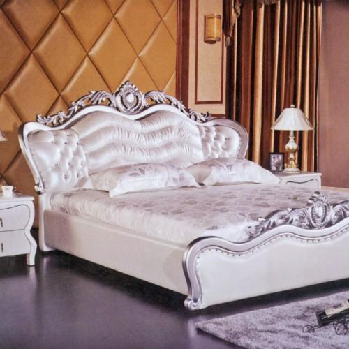 欧式皮艺床白色雕花卧室双人床    欧风05