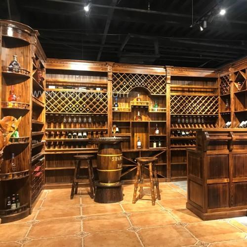 碳化木酒吧定制酒柜地下室放的书柜红酒柜子实木
