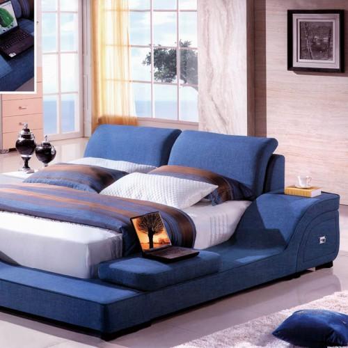 北欧风格卧室床双人床多功能布艺床   B1035