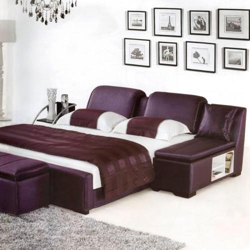 简约卧室双人床多功能布艺床   3023