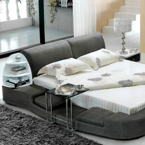 布艺双人床简约现代多功能软包床   3021