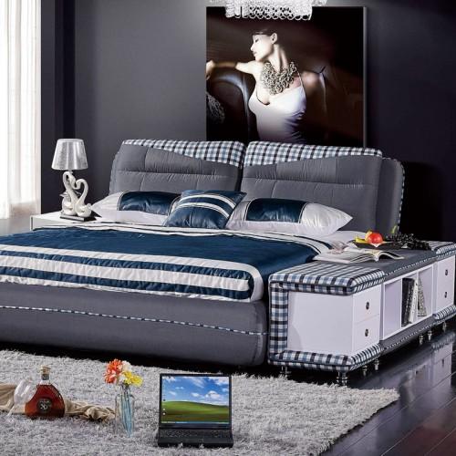 简约现代双人床多功能灰色布艺方格软包床    205