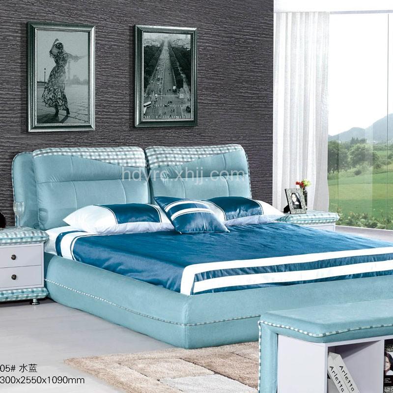 水蓝色布艺软体双人床简约现代多功能储物床    205