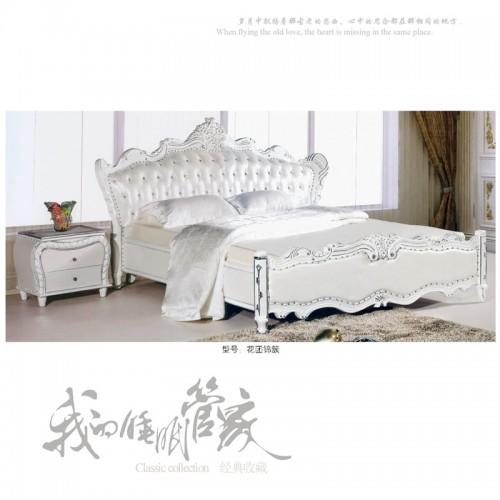 欧式真皮双人床实木雕花软床    花团锦簇