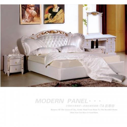 奢华欧式真皮双人床实木软床    天涯此时