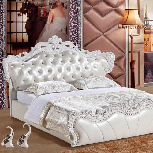 奢华高档欧式床实木雕花白色双人床    多子多福