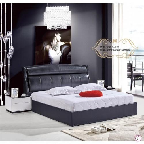 简约现代卧室双人床黑色头层皮靠背床    26
