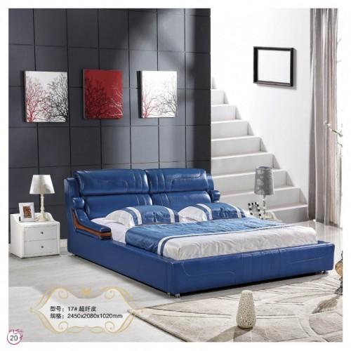 北欧简约卧室双人床超千皮靠背床    17