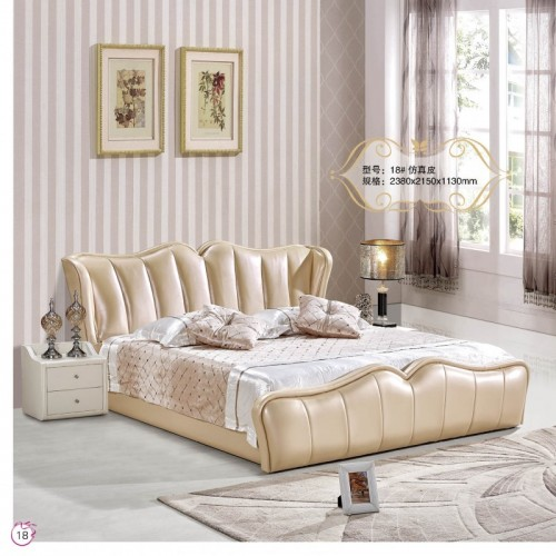 仿真皮现代简约卧室双人床    18