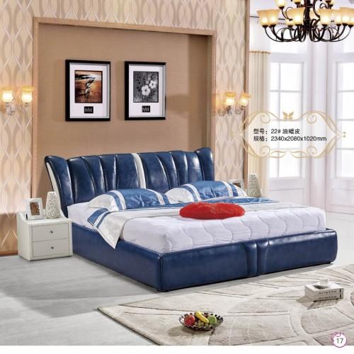 蓝色油蜡皮双人床现代简约卧室软包床    22