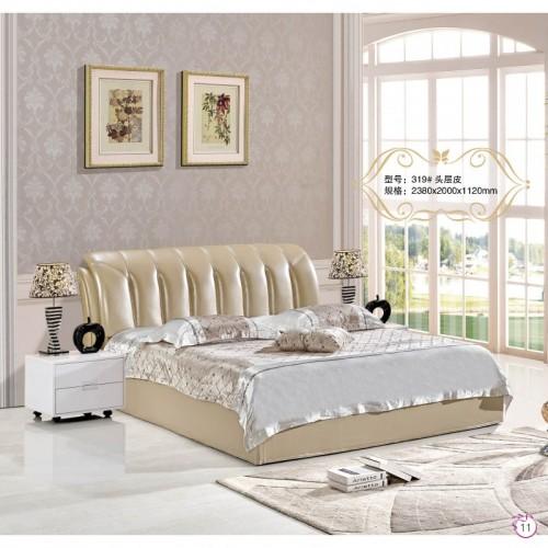 简约现代头层皮双人床卧室软包床     319