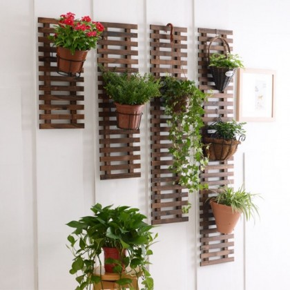 户外阳台装饰品挂花架子室内碳化木防腐木
