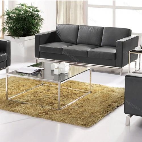 办公沙发简约现代不锈钢架真皮沙发组合02
