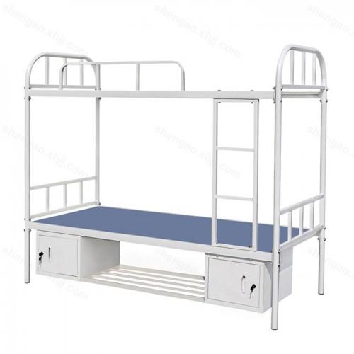 钢制单人双层床上下铺床带鞋架储物柜 01