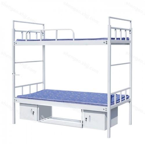 钢制单人双层床上下铺床带鞋架储物柜 02