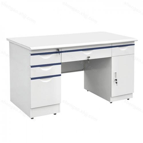钢制带锁带抽屉职员办公桌01
