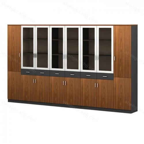 简约板式办公书柜资料柜玻璃门文件柜02