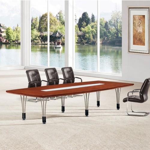 简约现代实木油漆钢架会议桌03