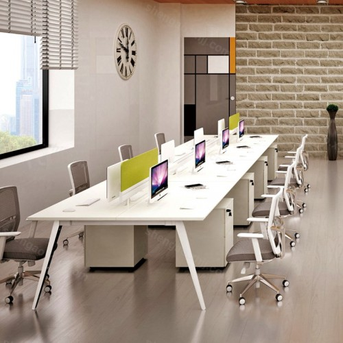 现代多人位开放式办公区员工桌电脑桌01
